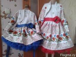 Платья детские и взрослые, маки, ручная работа, хлопок - фото 2
